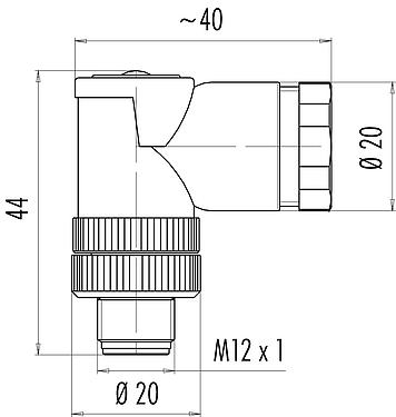 Scale drawing M12-A male angled connector, Contacts: 4, 2 x 2: 1.0 - 3.0 mm / Ø 4.0 - 5.0 mm, screw clamp, IP67, UL