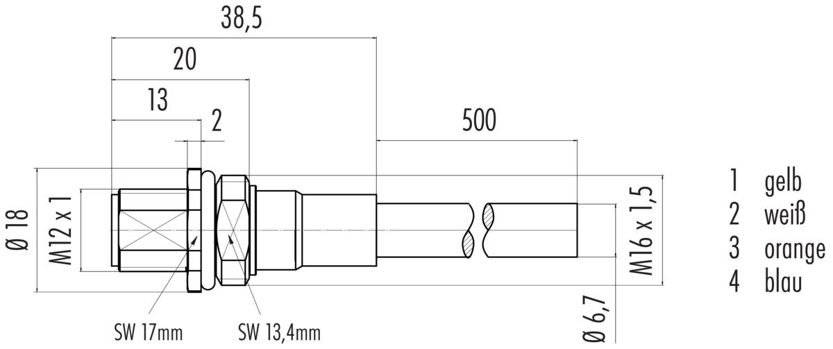 Geschirmter M12 D-kodierter Flanschstecker mit PROFINET-Kabel - binder
