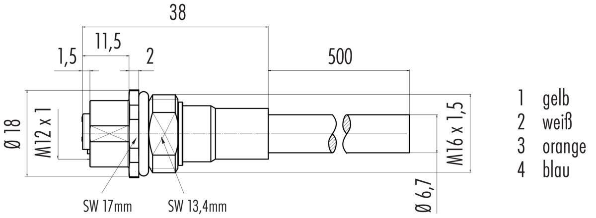 Flanschdose, M16, mit PROFINET-Kabel, geschirmt - Franz Binder GmbH ...