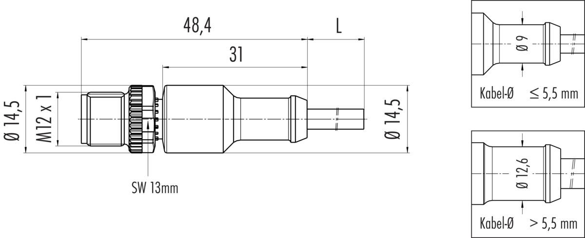 Umspritzter M12 A-kodierter Kabelstecker mit PUR Kabel