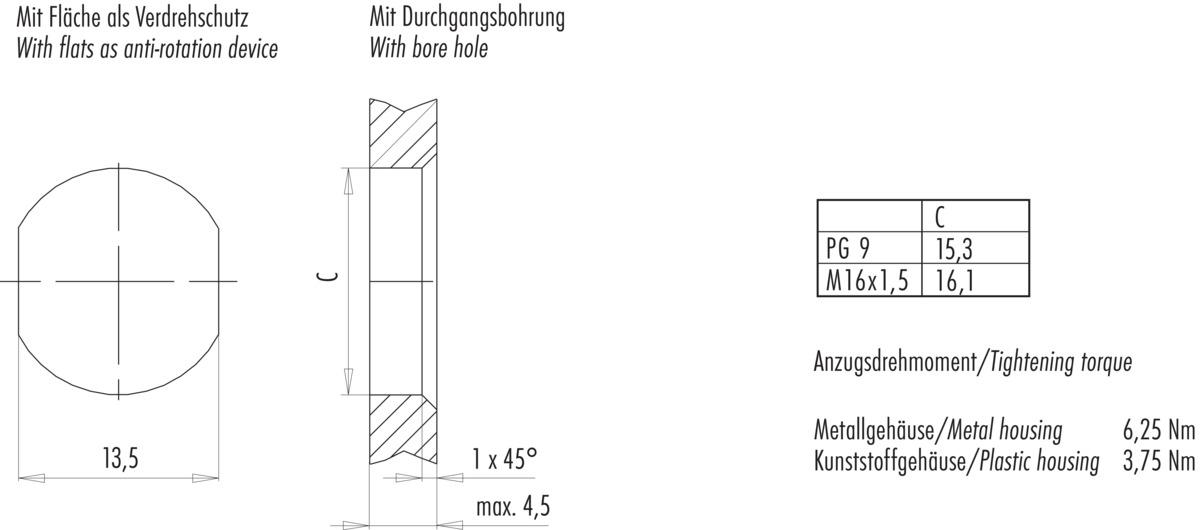 Flanschstecker, PG 9, von vorn verschraubbar, mit PROFINET-Kabel ...